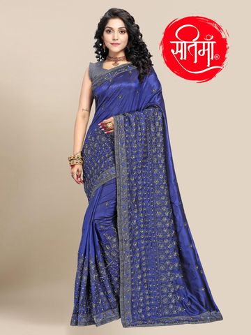 SATIMA | Designer Blue Silk Blend Self-Design Embroidered Saree