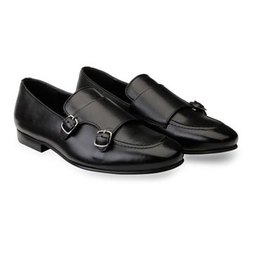 Hats Off Accessories | Hats Off Accessories Genuine Leather Black Double Monk Strap Loafers