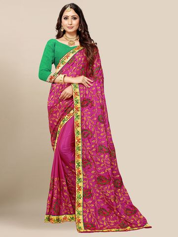 SATIMA | Women's Pink Embroidered Silk Blend Saree