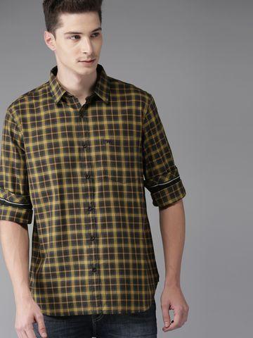 The Bear House | THE BEAR HOUSE Men Mustard Checks Formal Shirt
