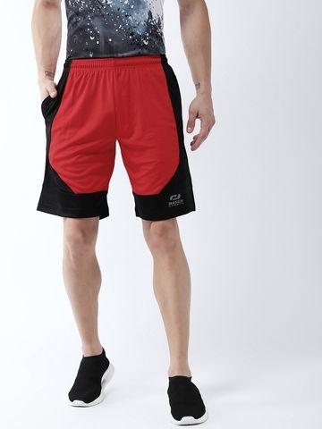 Masch Sports   Masch Sports Men's Gym Shorts Regular Fit Polyester (MSSH-0619-CS-SFDEDG-REDBLK_S_Red and Black_S)