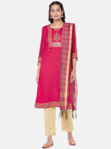 Ethnicity | Silk Blend  Straight Women Magenta Dupatta