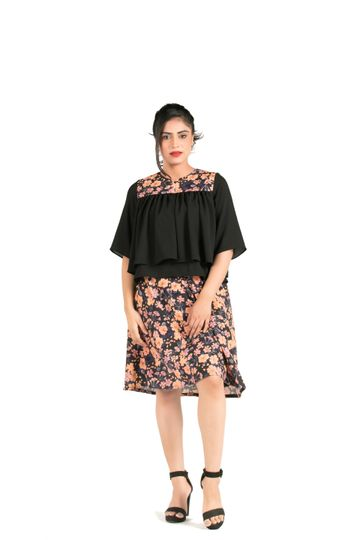 EUDORA CUT | Black Floral Top With Layered Design