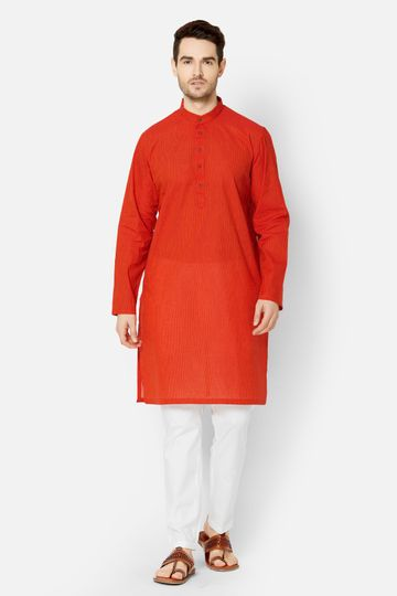 Ethnicity | Orange Cotton kurta set