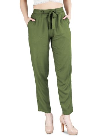 DEVS AND DIVAS | DEVS AND DIVAS Olive Green Rayon Cool Pant for Women