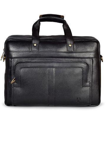 WildHorn   WildHorn 100% Genuine Leather Black Laptop Bag for Men