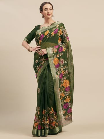 SATIMA | SatimaLinen CottonFloral Print Saree