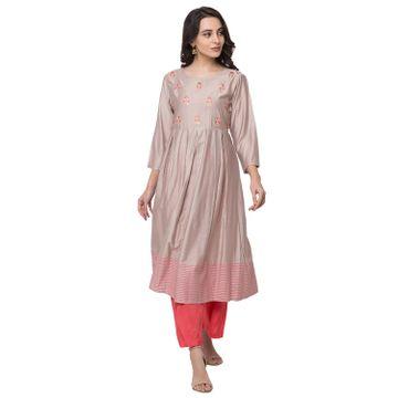 Ethnicity | Ethnicity Gadhwaal Kalidar Women Grey Kurta Set