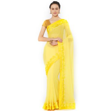 SATIMA | Satima YellowGeorgetteRabbin Work Saree
