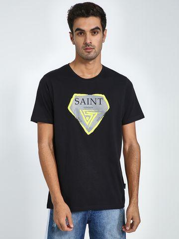 Blue Saint   Blue Saint Men's Black Regular Fit T-Shirts