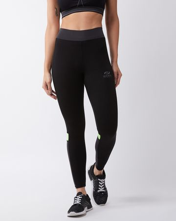 Masch Sports | Masch Sports Women's Black Solid Sports Tights with Detailed Colour Block Grey and Fluorescent Neon Back Panel