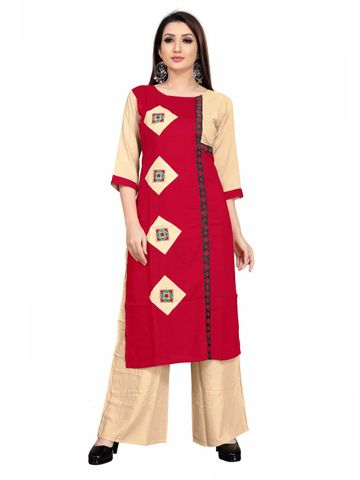 SATIMA | Women Red Beige Kurta Palazzo Set