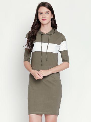 Jhankhi | Olive Colourblocked Shift Dress Hoodie