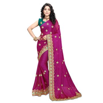 SATIMA | Designer Rani Georgette Self-Design Embroidered Saree