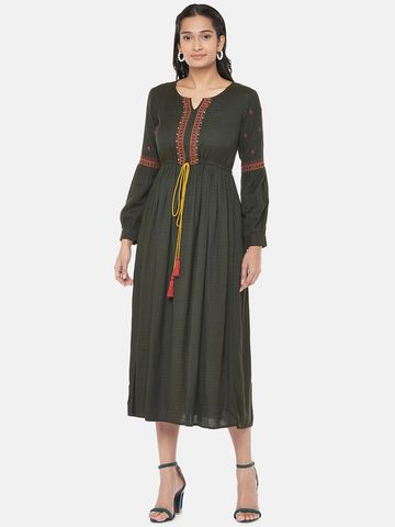 Ethnicity | Rayon Flax Dobby Bishop Gathered Women Olive Dress