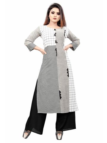SATIMA | Women Grey White Kurta Palazzo Set