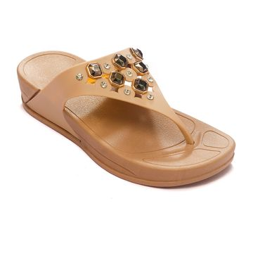 Trends & Trades | TRENDS & TRADES Tan Flip Flops Sandal For Women