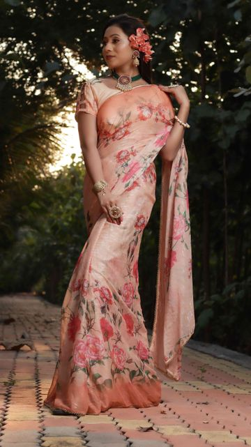 SATIMA | Woven Work with Print Peach Satin Saree