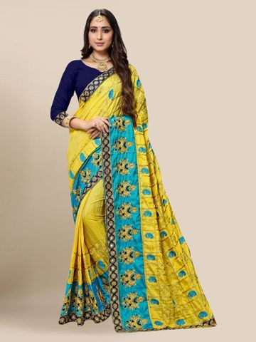 SATIMA | Women's Embroidered Yellow Silk Blend Pochampally Leheriya Saree