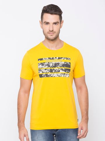 spykar | spykar Yellow Cotton Activewear T-Shirts