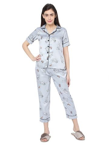 Smarty Pants | Smarty Pants women's silk satin pastel grey color tom & jerry print night suit