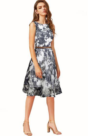 POONAM TEXTILE | Designer Grey Party Wear A-line Dress