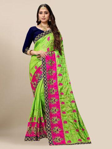 SATIMA | Women's Embroidered Green Silk Blend Pochampally Leheriya Saree