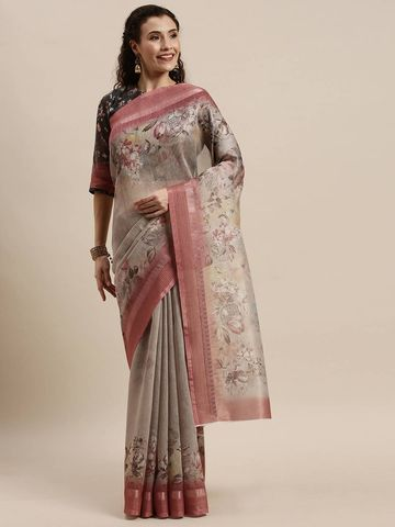 SATIMA | Women's Beige Digital Floral Print Woven Saree