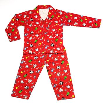 AAAKAR   Peach Graphic Printed Cotton Blend NightSuit Set