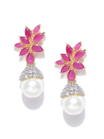 AADY AUSTIN | Aady Austin Pink Stone Leafy Pearl Dangler Earrings
