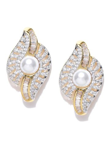AADY AUSTIN | Aady Austin Designer Golden Pearl Baguette Stud Earrings