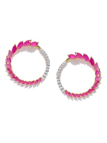 AADY AUSTIN | Aady Austin Designer Half mon Ruby and Diamond Pink Stud Earrings