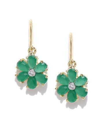 AADY AUSTIN | Aady Austin Green Floral Hoop Earrings