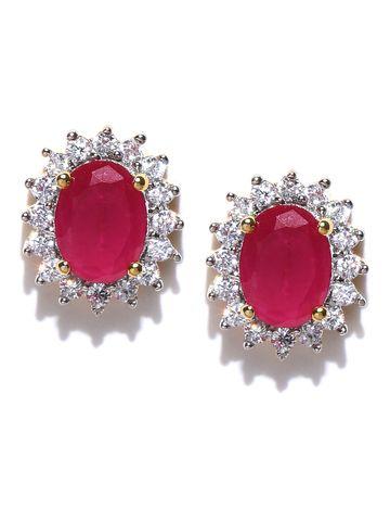 AADY AUSTIN   Aady Austin Pink Stone Studs Earrings