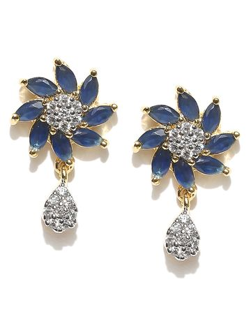 AADY AUSTIN   Aady Austin Curvy Floral Blue danglers-drops Earring