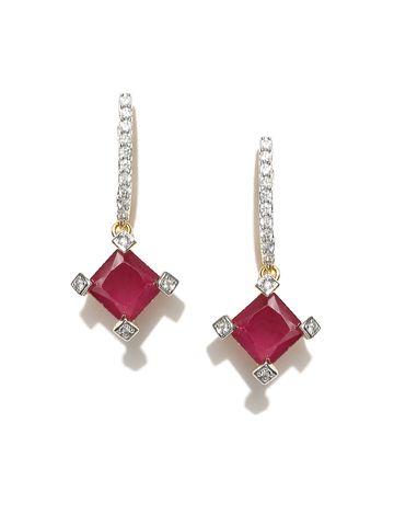 AADY AUSTIN   Aady Austin Square Stoned Pink danglers-drops Earring