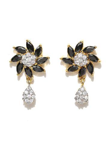 AADY AUSTIN | Aady Austin Curvy Floral Black danglers drops Earring