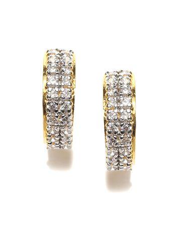 AADY AUSTIN | Aady Austin  double  lined stone Golden huggie Earrings