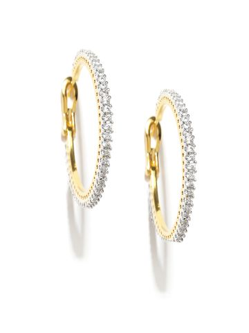 AADY AUSTIN | Aady Austin  Stone Golden Hoops Earrings