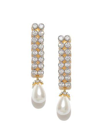 AADY AUSTIN | Aady Austin  Double Lined Drop white Earring