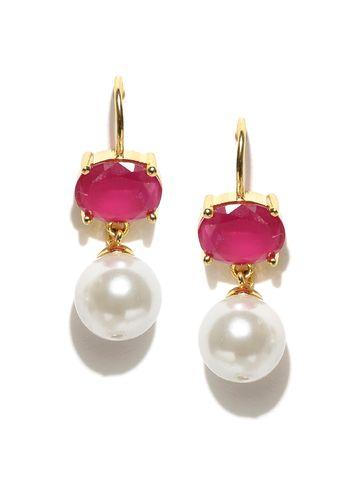 AADY AUSTIN | Aady Austin  Pearl Dangler Drop Pink Stone Earring