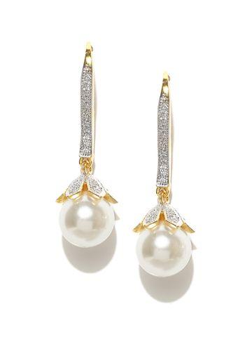 AADY AUSTIN | Aady Austin  White Pearl Drop Hanging earring
