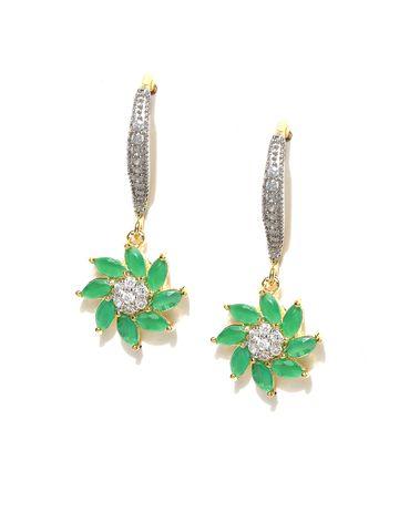 AADY AUSTIN | Aady Austin  Spiral Flower Green drop earring