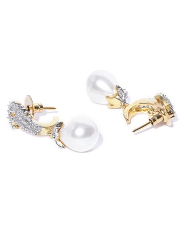 AADY AUSTIN | Aady Austin Off-White Gold-Plated CZ Stone-Studded Drop Earrings