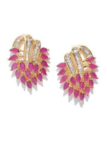 AADY AUSTIN   Aady Austin Pink Gold-Plated Cubic Zirconia Floral Studs