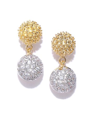 AADY AUSTIN | Aady Austin Gold-Plated CZ Stone Studded Spherical Drop Earrings
