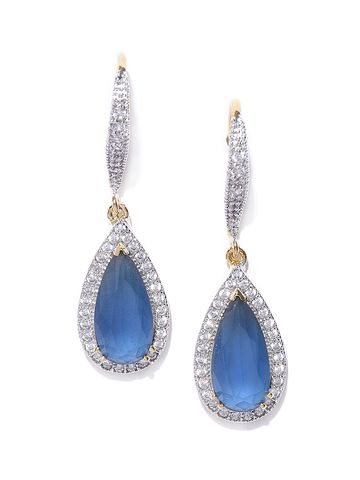 AADY AUSTIN | Aady Austin Blue & Gold-Plated CZ Stone-Studded Teardrop Shaped Drop Earrings