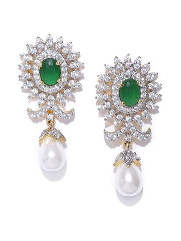 AADY AUSTIN | Aady Austin Green Gold-Plated Cubic Zirconia Teardrop Shaped Drop Earrings