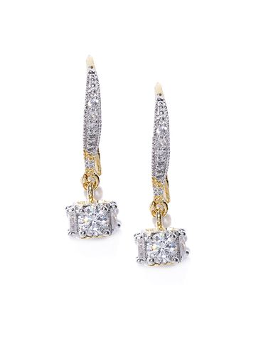 AADY AUSTIN | Aady Austin Gold-Toned Gold-Plated Cubic Zirconia Square Drop Earrings