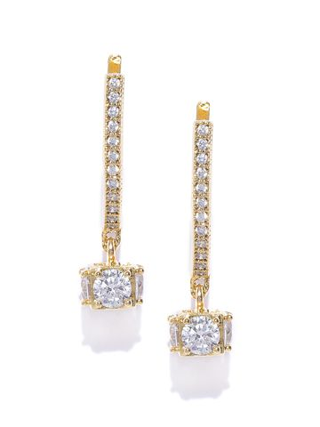 AADY AUSTIN | Aady Austin Gold-Plated CZ Stone-Studded Contemporary Drop Earrings